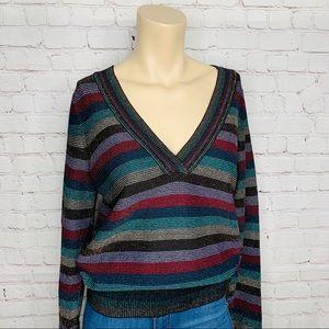 ANTHROPOLOGIE Moth Sweater Sz S Metallic Striped
